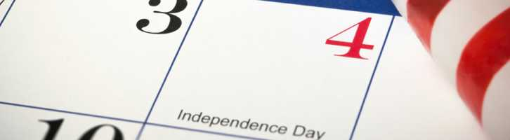 Independence day July 4th on a calendar