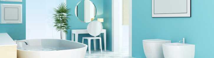 Luxury blue vacation rental bathroom