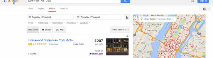 Google search showing direct booking of vacation accommodation