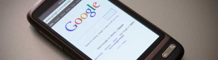 Google on a smartphone showing mobile-friendliness of site