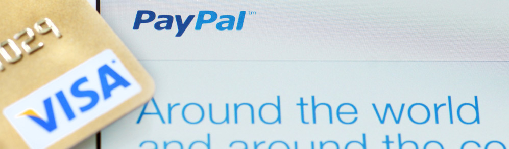 Visa card and PayPal logo which can help to avoid credit card scams